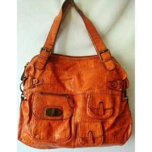 Orange purse with seven pockets